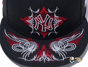 New York Yankees Pinstripes Black Radiant Red 59Fifty Fitted Cap by MLB x New Era Zoom