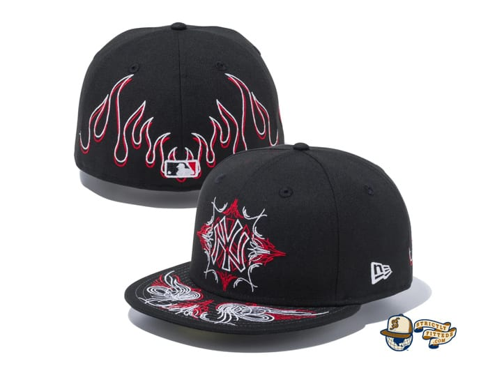 New York Yankees Pinstripes Black Radiant Red 59Fifty Fitted Cap by MLB x New Era