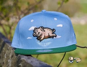 Flying Pigs Sky Blue Kelly Green 59Fifty Fitted Hat by Dionic x New Era Front
