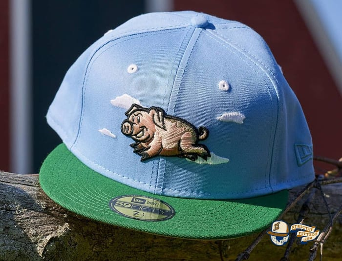 Flying Pigs Sky Blue Kelly Green 59Fifty Fitted Hat by Dionic x New Era