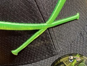 Crossed Bats Hexera Neon Green Black 59Fifty Fitted Cap by JustFitteds x New Era Front