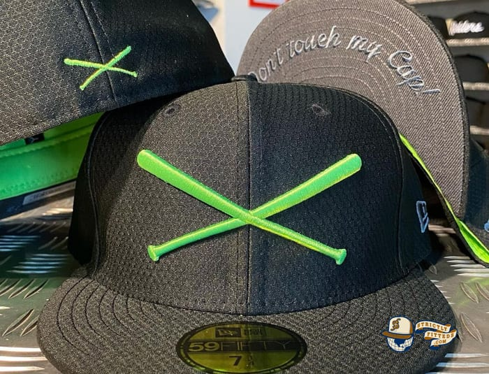 Crossed Bats Hexera Neon Green Black 59Fifty Fitted Cap by JustFitteds x New Era