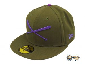 Crossed Bats Logo Olive Canvas 59Fifty Fitted Hat by JustFitteds x New Era Left