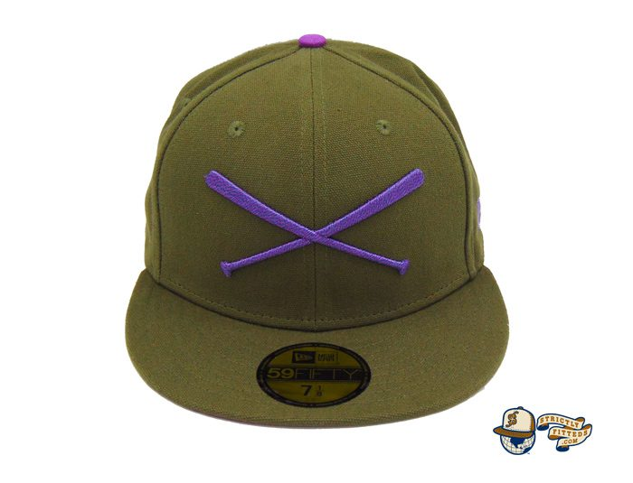 Crossed Bats Logo Olive Canvas 59Fifty Fitted Hat by JustFitteds x New Era