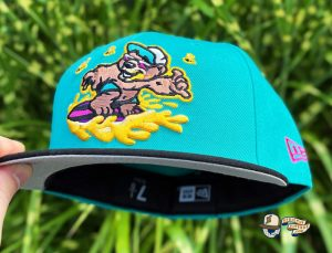 Honey Surfers Teal Black 59Fifty Fitted Hat by Noble North x New Era Front