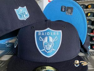 JustFitteds Exclusive Las Vegas Raiders Navy Sky Blue 59Fifty Fitted Hat by NFL x New Era