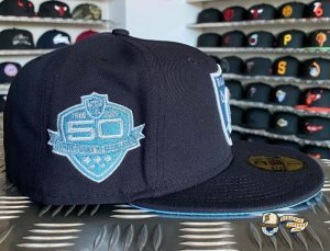 JustFitteds Exclusive Las Vegas Raiders Navy Sky Blue 59Fifty Fitted Hat by NFL x New Era Patch