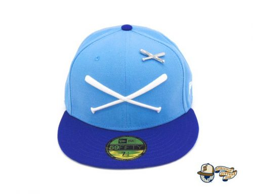 Crossed Bats Logo Don't Touch My Cap Sky Blue 59Fifty Fitted Hat by JustFitteds x New Era