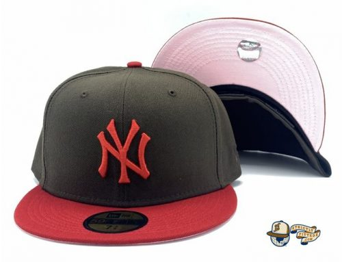 New York Yankees Walnut Scarlet Pink 59Fifty Fitted Hat by MLB x New Era